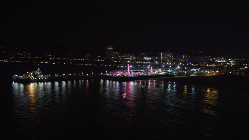 5K stock footage aerial video orbit the pier at night in Santa Monica, California Aerial Stock Footage | LD01_0026