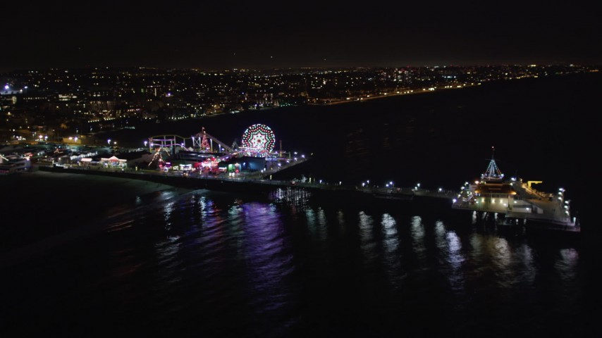 5K stock footage aerial video of the Santa Monica Pier, California at night Aerial Stock Footage | LD01_0028