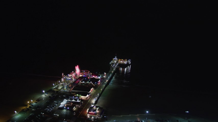 5K stock footage aerial video of the Santa Monica Pier, California at nighttime Aerial Stock Footage | LD01_0030