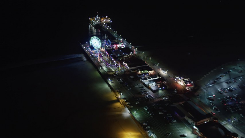 5K stock footage aerial video of flying around the Santa Monica Pier, California at night Aerial Stock Footage | LD01_0031