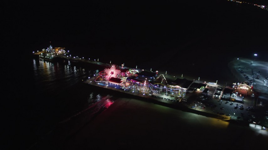 5K stock footage aerial video of the Santa Monica Pier, California at night Aerial Stock Footage | LD01_0036