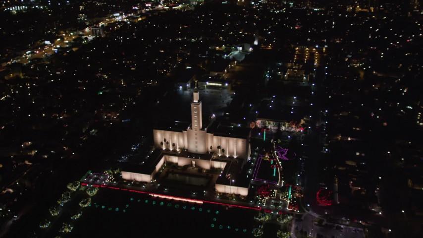 5K stock footage aerial video orbit Los Angeles California Temple in Westwood, California at night Aerial Stock Footage   LD01_0051