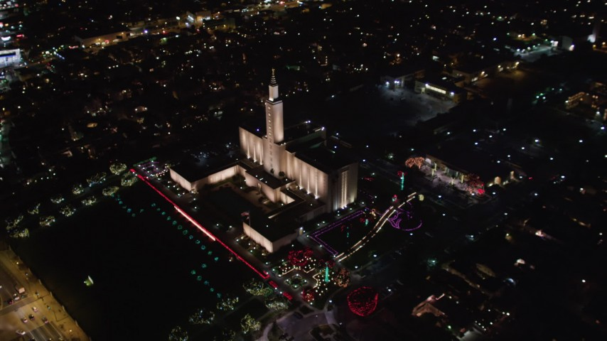 5K aerial stock footage video of an orbit of Los Angeles California Temple, Westwood, California, at night Aerial Stock Footage   LD01_0052