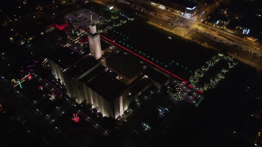 5K aerial stock footage video circling the Los Angeles California Temple, Westwood, California, at night Aerial Stock Footage   LD01_0053