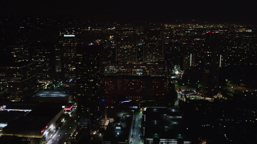 5K stock footage aerial video flyby skyscrapers at night in Century City, California Aerial Stock Footage   LD01_0055