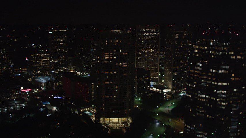 5K aerial stock footage video passing skyscrapers at night, Century City, California Aerial Stock Footage | LD01_0056