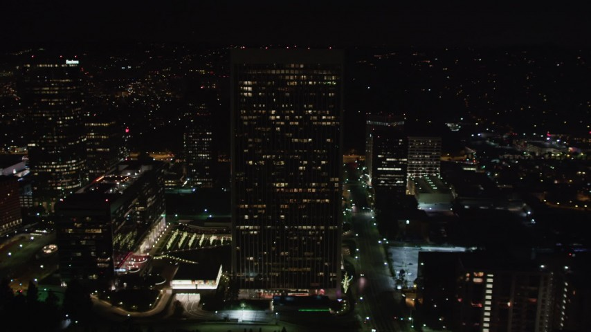 5K stock footage aerial video of office buildings at night in Century City, California Aerial Stock Footage   LD01_0057