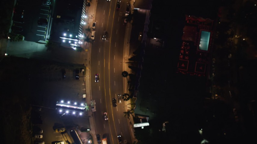 5K stock footage aerial video of bird's eye of the Sunset Strip, West Hollywood, California Aerial Stock Footage | LD01_0065
