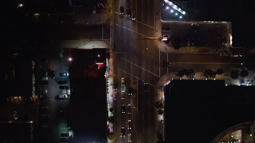 5K stock footage aerial video bird's eye of cars and streets on the Sunset Strip, West Hollywood, California Aerial Stock Footage | LD01_0067