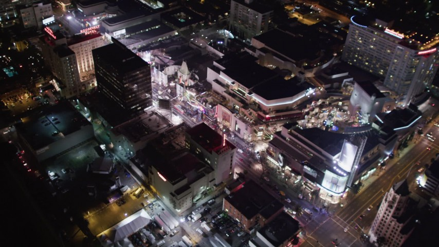 5K stock footage aerial video of mall, theaters and hotels at night in Hollywood, California Aerial Stock Footage | LD01_0072