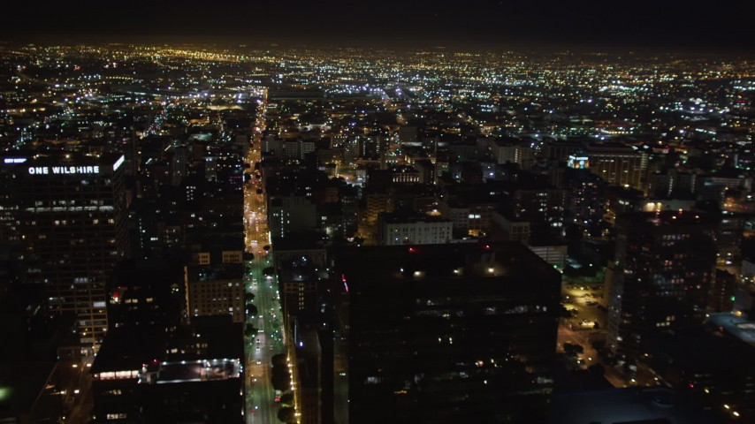 5K stock footage aerial video flying over skyscrapers at night in Downtown Los Angeles, California Aerial Stock Footage | LD01_0077