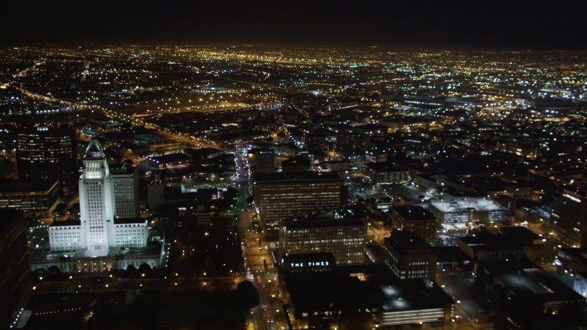 5K stock footage aerial video flyby city hall and skyscrapers at night in Downtown Los Angeles, California Aerial Stock Footage | LD01_0078