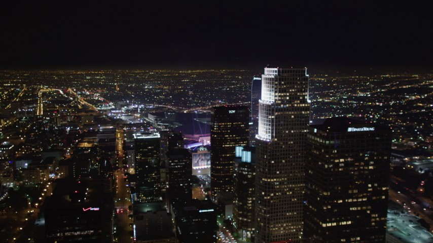 5K stock footage aerial video of panning across skyscrapers in night inDowntown Los Angeles, California Aerial Stock Footage | LD01_0079
