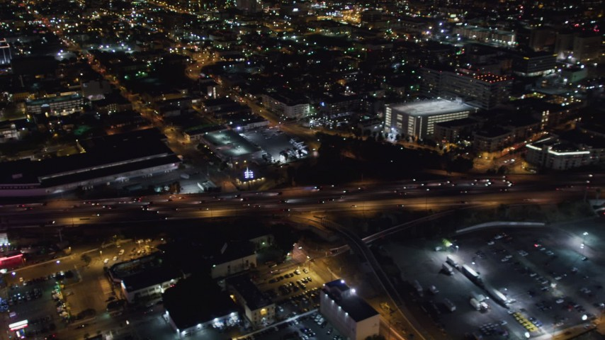 5K stock footage aerial video light traffic on the 110 at night in Downtown Los Angeles, California Aerial Stock Footage   LD01_0083