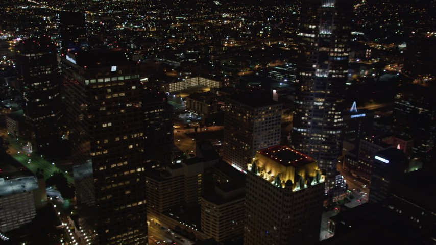 5K stock footage aerial video flying by 110 to reveal skyscrapers at night Downtown Los Angeles, California Aerial Stock Footage | LD01_0084