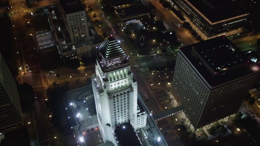 5K stock footage aerial video approaching city hall at night Downtown Los Angeles, California Aerial Stock Footage | LD01_0087