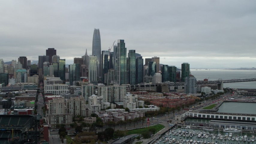 5.7K stock footage aerial video of the city skyline seen from South of Market, Downtown San Francisco, California Aerial Stock Footage | PP0002_000002
