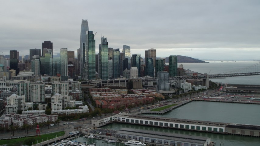5.7K stock footage aerial video of the city's skyline seen from the South of Market, Downtown San Francisco, California Aerial Stock Footage | PP0002_000003
