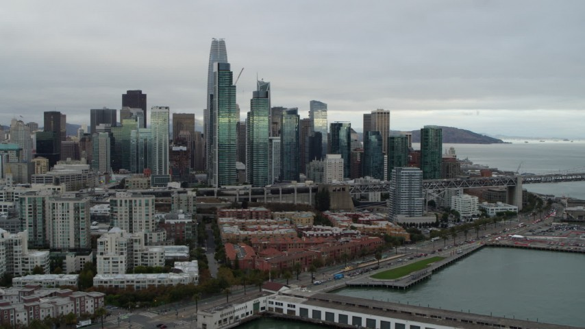 5.7K stock footage aerial video slow approach to the city's skyline from the South of Market, Downtown San Francisco, California Aerial Stock Footage | PP0002_000004