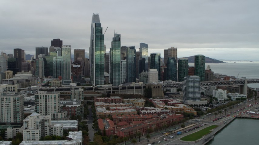 5.7K stock footage aerial video slowly approaching the city's skyline from the South of Market, Downtown San Francisco, California Aerial Stock Footage | PP0002_000005