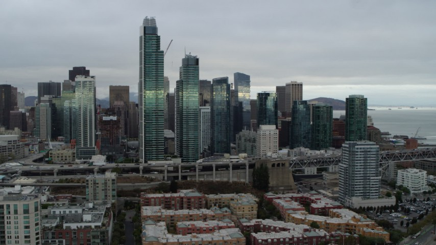 5.7K stock footage aerial video approach skyscrapers in city's skyline from the South of Market, Downtown San Francisco, California Aerial Stock Footage | PP0002_000007