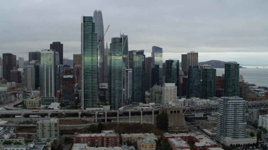 5.7K stock footage aerial video of skyscrapers in city's skyline, seen from the South of Market, Downtown San Francisco, California Aerial Stock Footage | PP0002_000008
