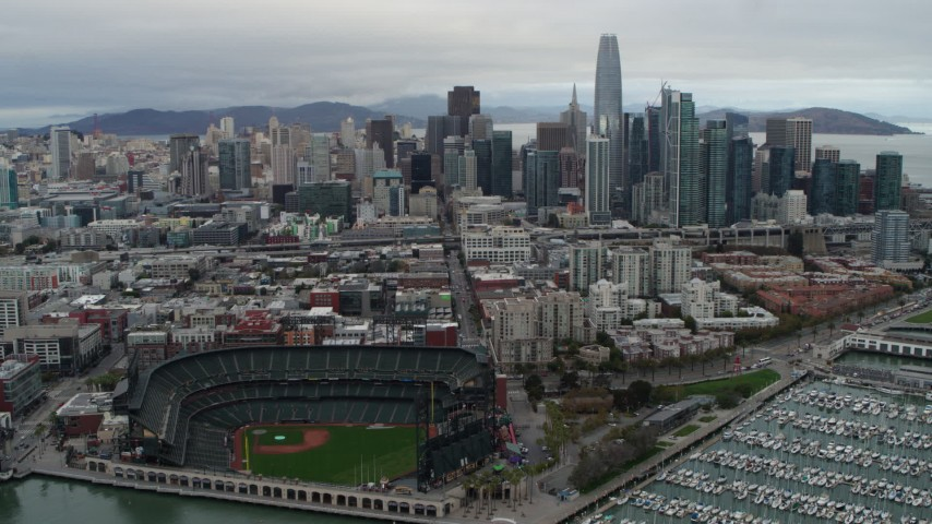 5.7K stock footage aerial video of city's skyline seen from AT&T Park, Downtown San Francisco, California Aerial Stock Footage | PP0002_000013