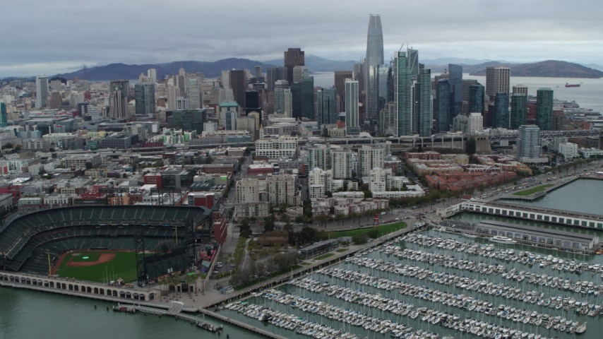 5.7K stock footage aerial video fly over AT&T Park and marina, with city skyline in background, Downtown San Francisco, California Aerial Stock Footage | PP0002_000019