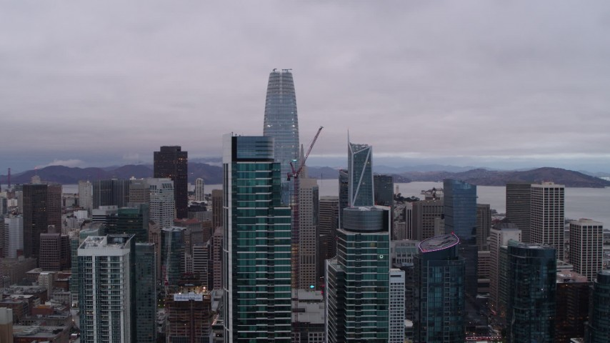 5.7K stock footage aerial video of Salesforce Tower behind two skyscrapers in South of Market, Downtown San Francisco, California Aerial Stock Footage   PP0002_000023