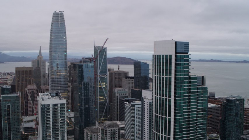 5.7K stock footage aerial video of downtown skyscrapers seen from South of Market, Downtown San Francisco, California Aerial Stock Footage | PP0002_000026