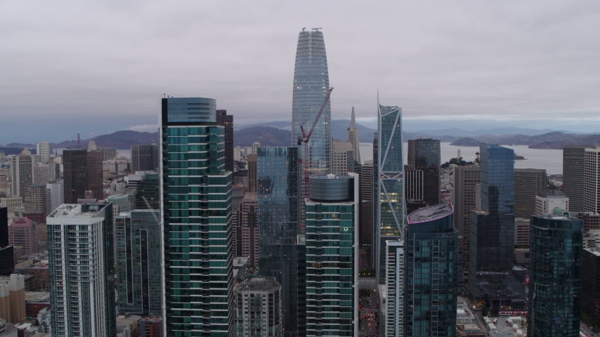 5.7K aerial video flying by South of Market skyscrapers with view of Salesforce Tower, Downtown San Francisco, California Aerial Stock Footage | PP0002_000027
