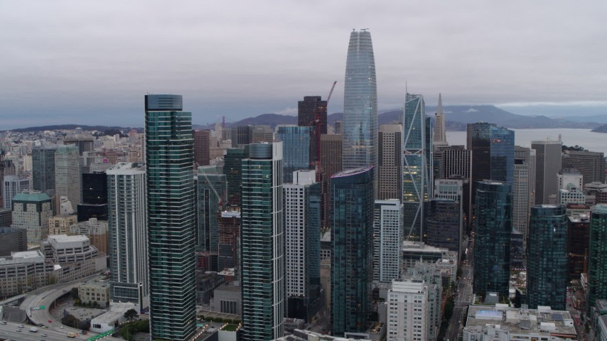 5.7K stock footage aerial video of Salesforce Tower and South of Market skyscrapers in Downtown San Francisco, California Aerial Stock Footage | PP0002_000030