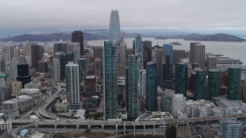 5.7K stock footage aerial video of a view of Salesforce Tower, South of Market skyscrapers in Downtown San Francisco, California Aerial Stock Footage | PP0002_000031