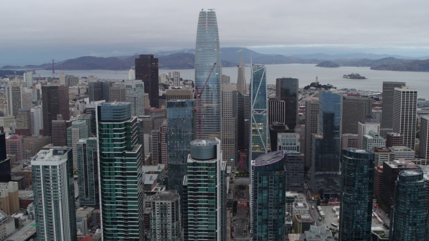 5.7K aerial video of Salesforce Tower at the center of skyscrapers, Downtown San Francisco, California Aerial Stock Footage | PP0002_000034