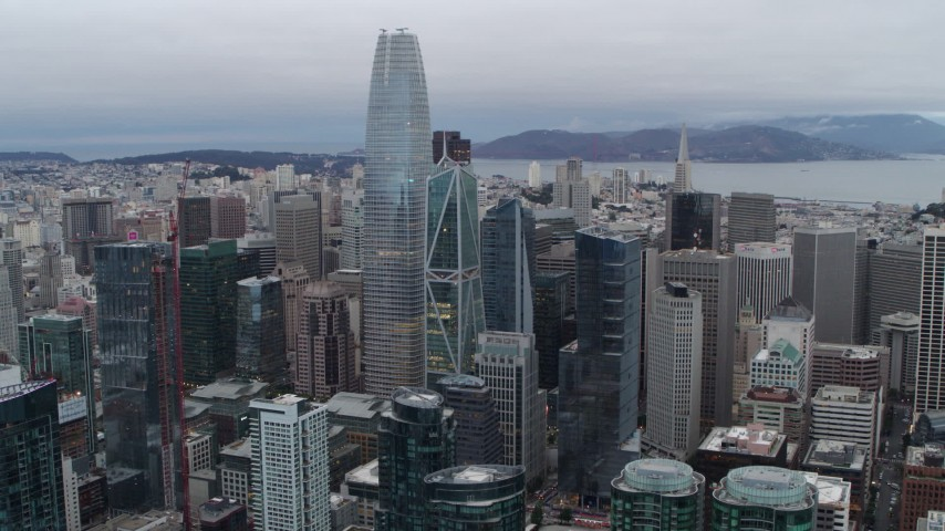 5.7K aerial video of a view of Salesforce Tower skyscraper and high-rises in Downtown San Francisco, California Aerial Stock Footage | PP0002_000036