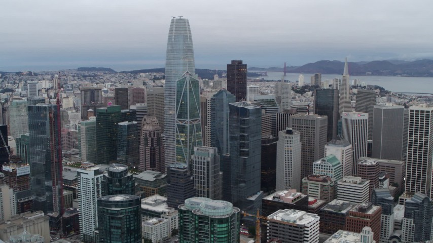 5.7K stock footage aerial video of Salesforce Tower skyscraper at the center of high-rises in Downtown San Francisco, California Aerial Stock Footage | PP0002_000037