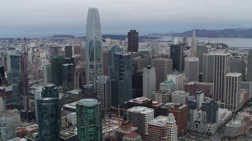 5.7K stock footage aerial video of Salesforce Tower skyscraper behind high-rises in Downtown San Francisco, California Aerial Stock Footage | PP0002_000038
