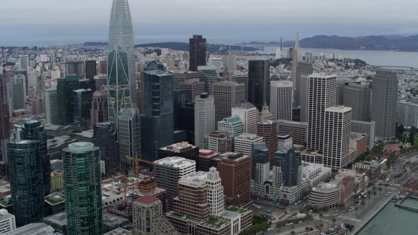 5.7K stock footage aerial video flyby and pan across skyscrapers in Downtown San Francisco, California Aerial Stock Footage   PP0002_000039