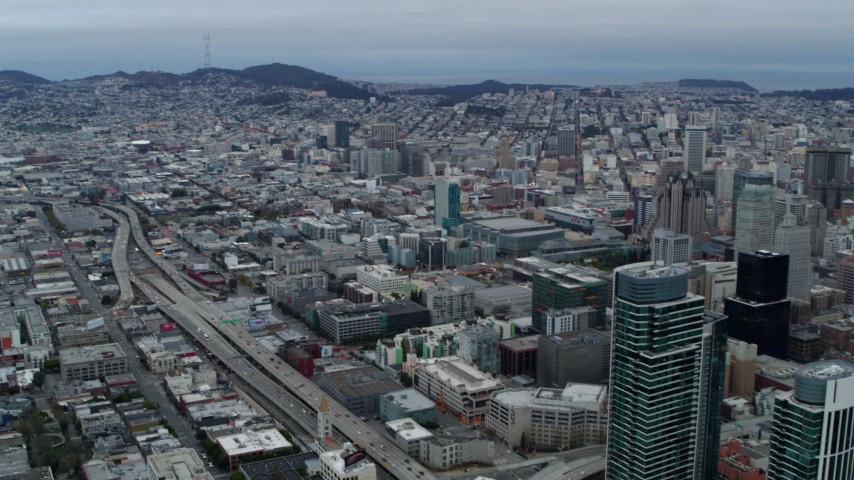 5.7K aerial video pan from the expanse of the city to skyscrapers, Downtown San Francisco, California Aerial Stock Footage | PP0002_000045