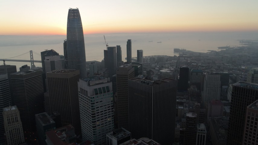 5.7K stock footage aerial video of the top of Salesforce Tower at sunrise in Downtown San Francisco, California Aerial Stock Footage | PP0002_000050