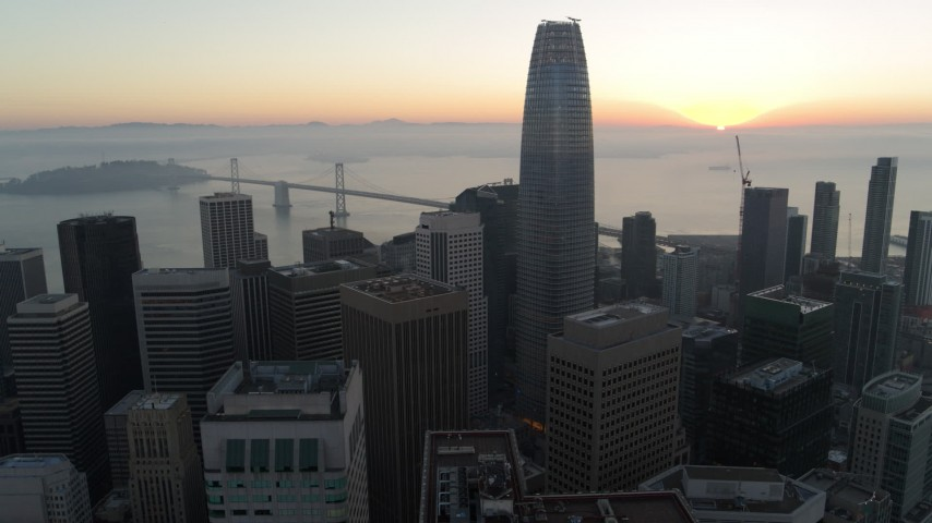 5.7K stock footage aerial video of Salesforce Tower and skyscrapers at sunrise in Downtown San Francisco, California Aerial Stock Footage | PP0002_000053