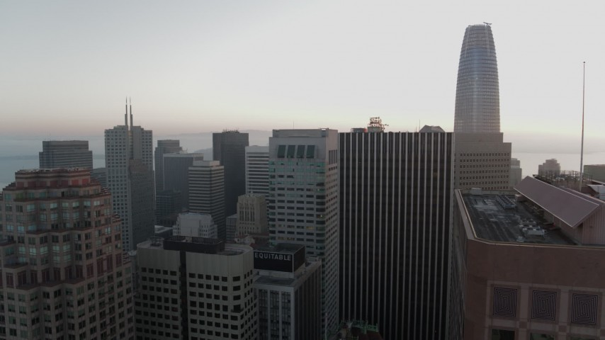 5.7K stock footage aerial video of flying by skyscrapers with view of Salesforce Tower in Downtown San Francisco, California Aerial Stock Footage | PP0002_000064
