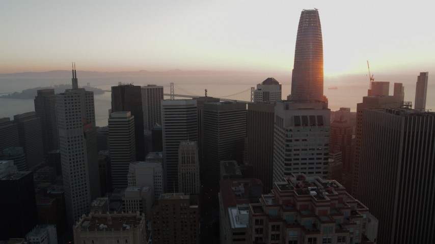5.7K stock footage aerial video ascend over skyscrapers near Salesforce Tower in Downtown San Francisco, California Aerial Stock Footage | PP0002_000068