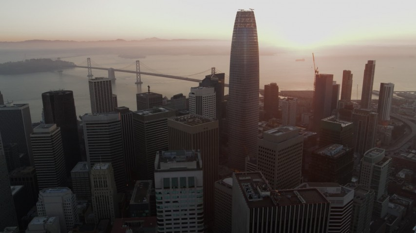 5.7K stock footage aerial video flyby skyscrapers and focus on Salesforce Tower in Downtown San Francisco, California Aerial Stock Footage | PP0002_000070