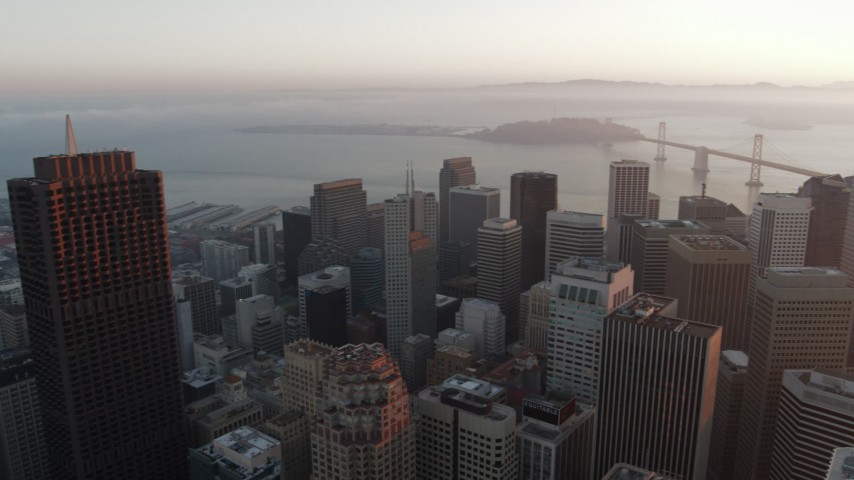 5.7K stock footage aerial video pan across city skyscrapers in Downtown San Francisco, California Aerial Stock Footage | PP0002_000073