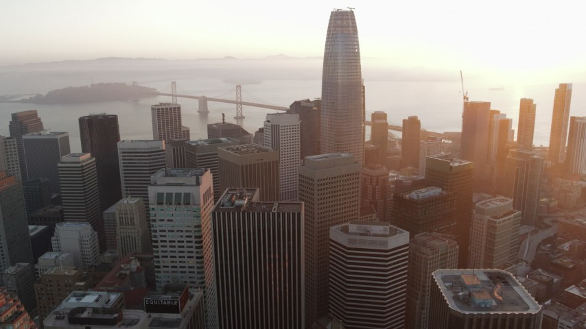 5.7K stock footage aerial video of Salesforce Tower and city skyscrapers at sunrise in Downtown San Francisco, California Aerial Stock Footage | PP0002_000074