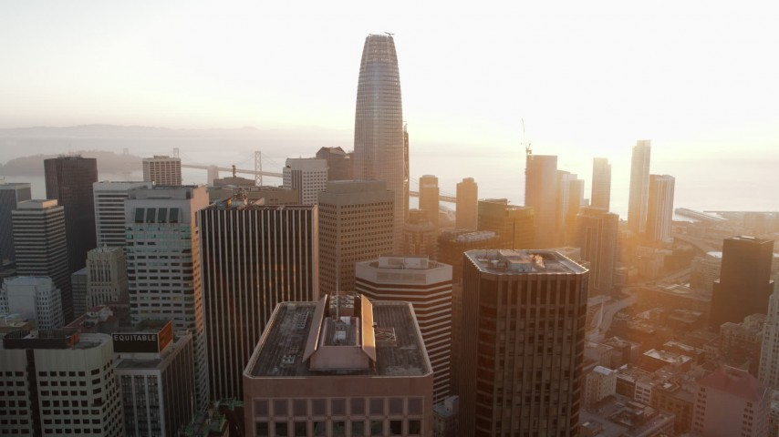 5.7K stock footage aerial video of Salesforce Tower and city skyscrapers at sunrise, Downtown San Francisco, California Aerial Stock Footage | PP0002_000077