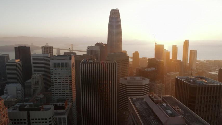 5.7K stock footage aerial video of passing Salesforce Tower and city skyscrapers at sunrise, Downtown San Francisco, California Aerial Stock Footage | PP0002_000078