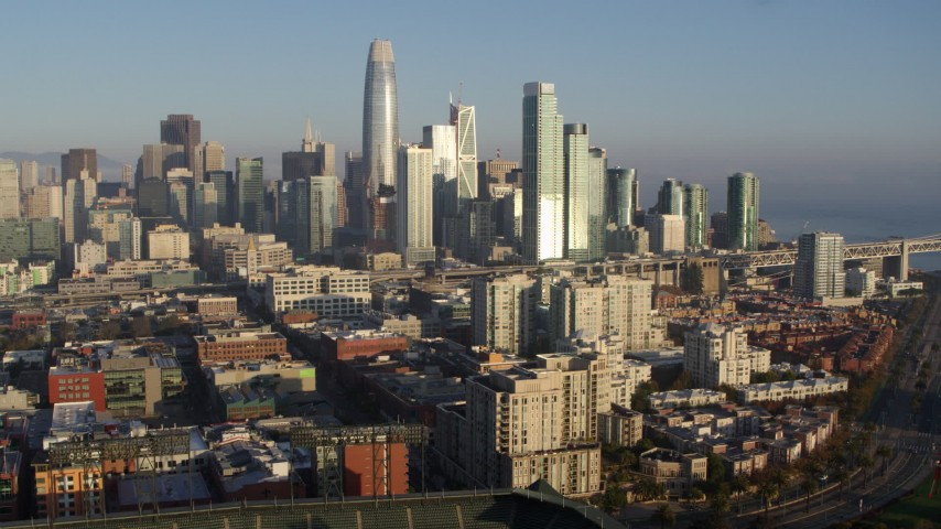 5.7K aerial video ascend while focused on the skyline of Downtown San Francisco, California Aerial Stock Footage | PP0002_000084