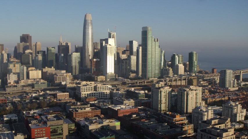 5.7K stock footage aerial video of the city skyline seen from South of Market, Downtown San Francisco, California Aerial Stock Footage | PP0002_000085